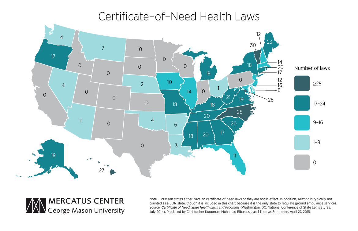 Healthcare Mercatus Center - Healthcare map due to states of us