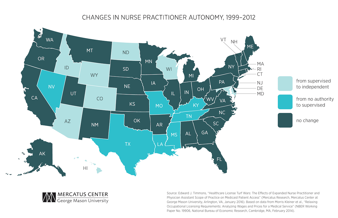 Healthcare License Turf Wars The Effects Of Expanded Nurse - Map of physician assistant programs in us
