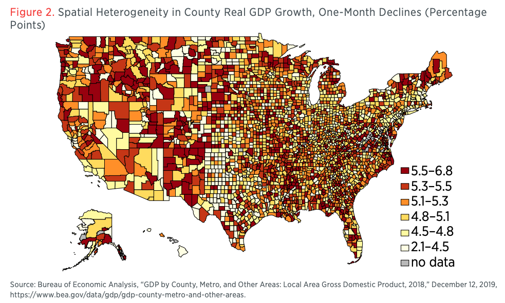 Figure 2. Spatial Heterogeneity in County Real GDP Growth, One-Month Declines (Percentage Points)