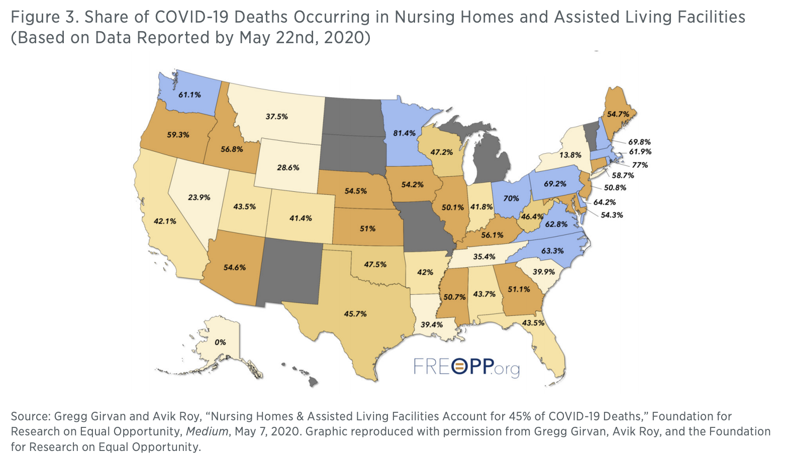 Figure 3. Share of COVID-19 Deaths Occurring in Nursing Homes and Assisted Living Facilities (Based on Data Reported by May 22nd, 2020)
